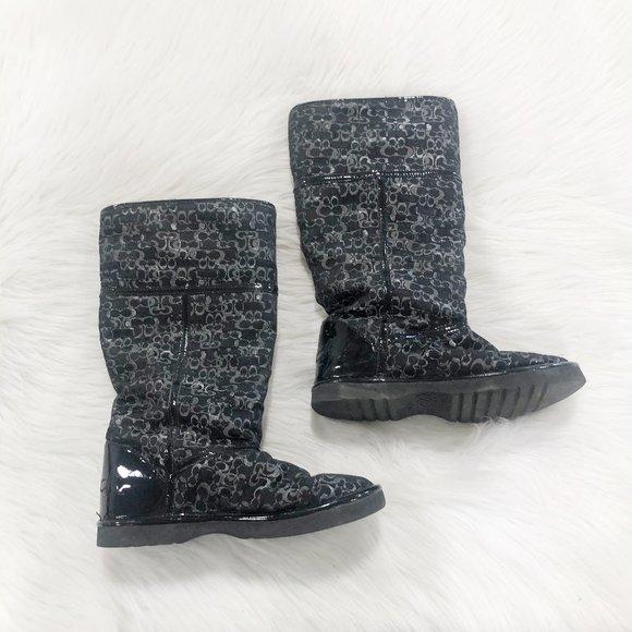 COACH Nikole Optic C Faux Fur Winter Boot SZ 6
